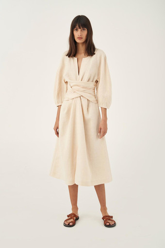 Oroton Linen Twist Front Dress in Almond and 100% Linen for female