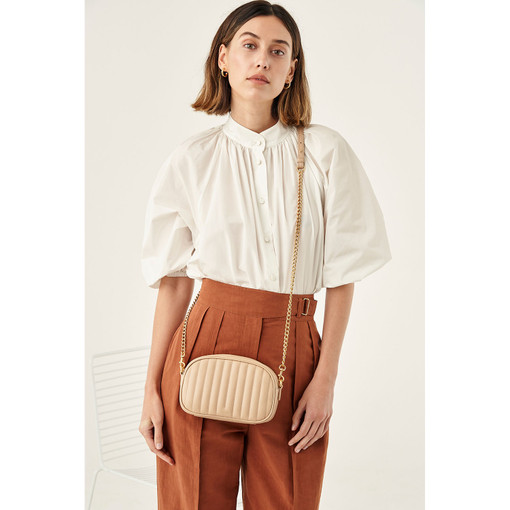 Oroton Fay Zip Around Crossbody in Dark Praline and Nappa Leather for female