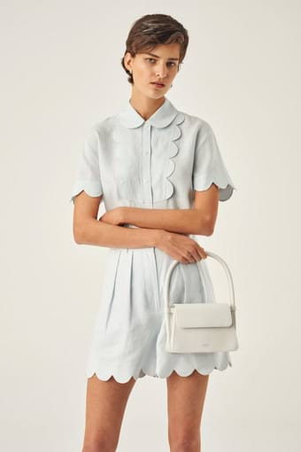 Oroton Arden Small Bag in Pure White and Smooth Leather for female