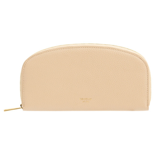 Oroton Daria Medium Arc Wallet in Light Sand and Pebble Leather for female