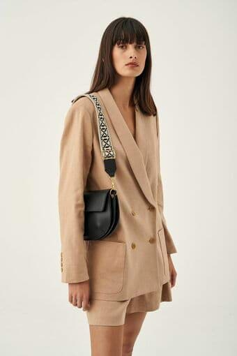 Oroton Logo Bag Strap in Black/Natural and Smooth Leather +Webbing for female