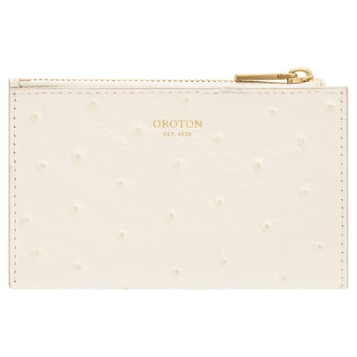 Oroton Leia 4 Credit Card Zip Pouch in Clotted Cream and Ostrich Emboss Leather for female