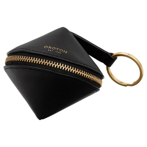 Oroton Charlie Diamond Key Ring in Black and Smooth Leather for female