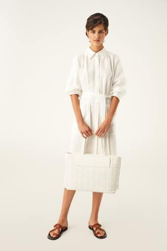 Oroton Jerome Woven Tote-East West in White and Smooth Leather for female