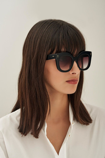 Oroton Wyatt Sunglasses in Black and Acetate for female
