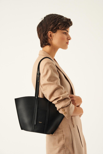 Oroton Aimee Small Tote in Black and Smooth Leather for female