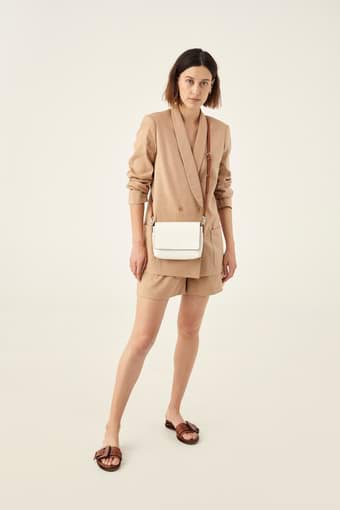 Oroton Harriet Crossbody in Cream and Shiny Soft Saffiano for female