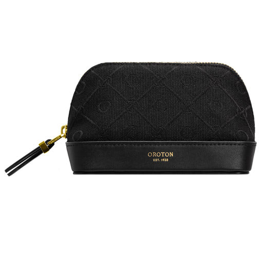 Oroton Elsie Small Beauty Case in Black and Elsie Signature Jacquard Fabric/Vachetta Leather for female