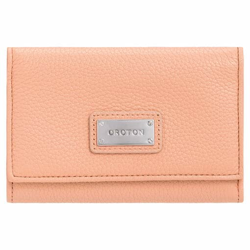 Oroton Kiera Highfold Wallet in Peach Kiss and Pebble Leather for female