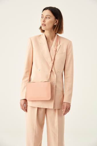 Oroton Lucy Double Zip Crossbody in Peach Kiss and Pebble Leather for female
