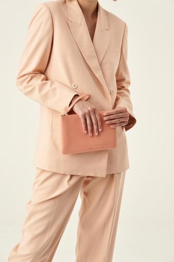 Oroton Lucy Medium Pouch in Peach Kiss and Pebble Leather for female