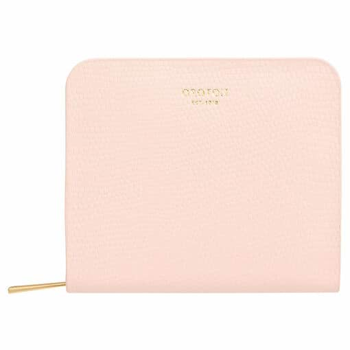 Oroton Dahlia Texture Square Seamless Wallet in Soft Pink and Single Lizard for female
