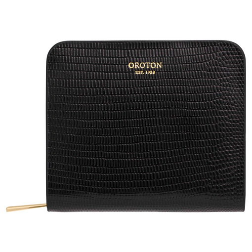 Oroton Dahlia Texture Square Seamless Wallet in Black and Single Lizard for female
