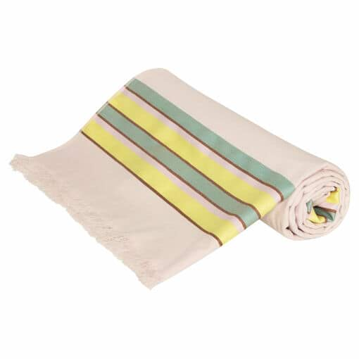 Oroton Fred Beach Towel in Yellow Stripe and 80% Cotton 20% Polyester for female