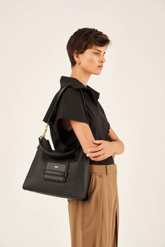 Oroton Alva Hobo in Black and Pebble Leather for female