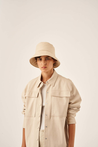 Oroton Alva Quilted Hat in Bone and 100% Cotton for female