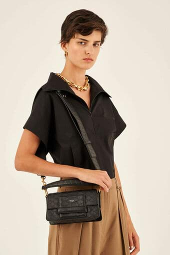 Oroton Alva Luxe Small Day Bag in Black and Snake Embossed Leather for female