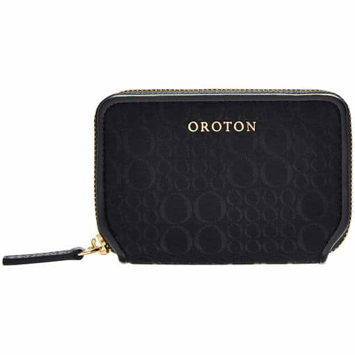 Oroton Signet Mini 7 Credit Card Wallet in Black and Jacquard Fabric / Vachetta for female
