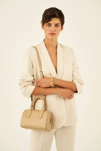 Oroton Muse Mini Bowler Bag in Cinnamon and Saffiano / Smooth for female
