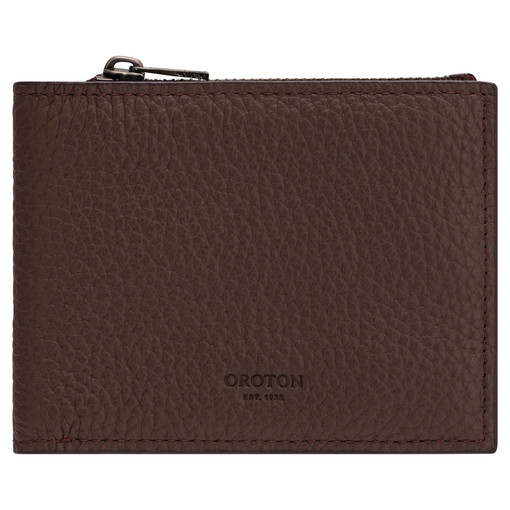 Oroton Weston 8 Card Zip Wallet in Espresso and Pebble Leather for male