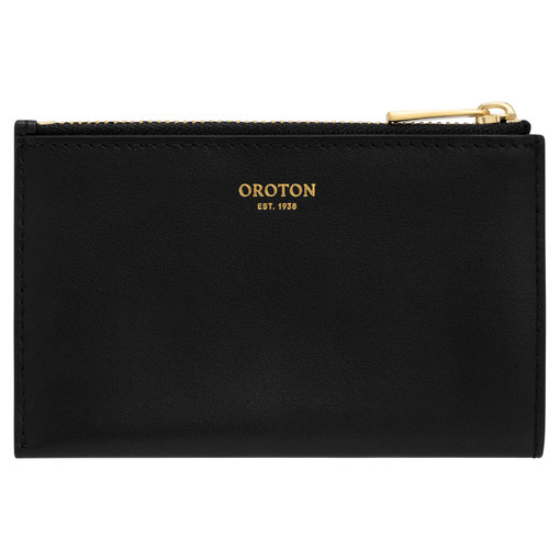 Oroton Nova 4 Credit Card Zip Pouch in Black and Smooth Leather for female
