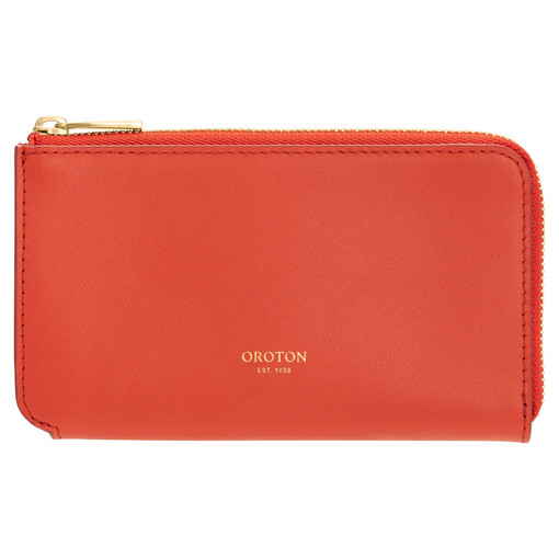 Oroton Willow Curve Zip Pouch in Poppy and Smooth Leather for female
