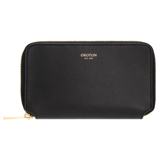 Oroton Willow Mini Book Wallet in Black and Smooth Leather for female