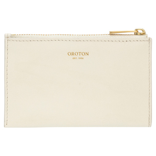 Oroton Nova 4 Credit Card Zip Pouch in Clotted Cream and Smooth Leather for female