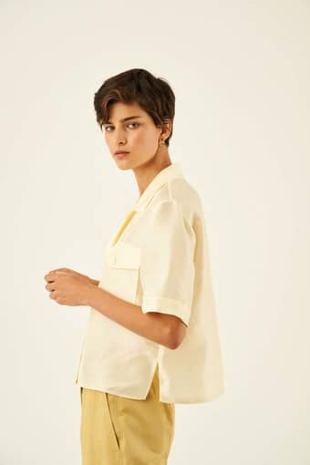Oroton Silk Camp Shirt in Pale Saffron and 100% Silk for female