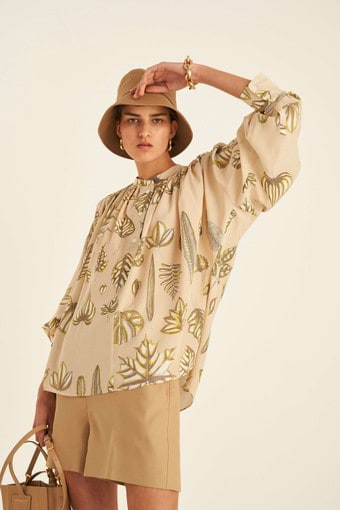 Oroton Foliage Print Silk Top in Deep Wheat and 100% Silk for female