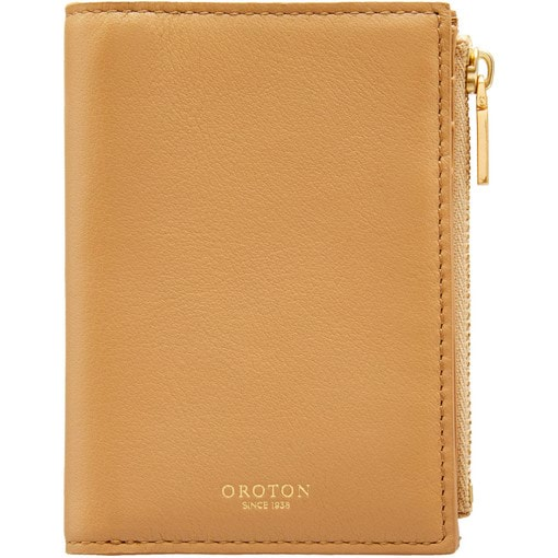 Oroton Venture Mini 10 Credit Card Zip Wallet in Sand and Nappa Leather for female