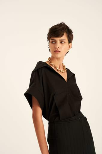 Oroton Short Sleeve Boxy Top in Black and 100% Cotton for female