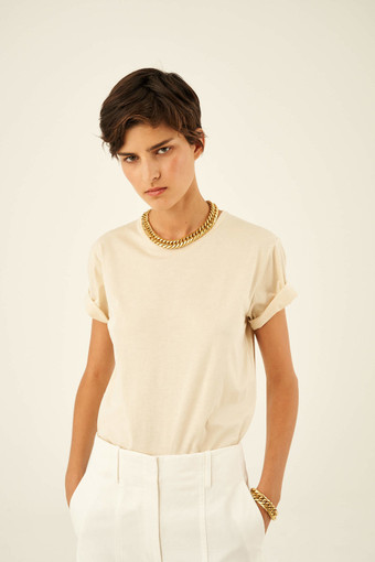 Oroton Short Sleeve Basic Tee in Fresh Cream and 100% Cotton for female