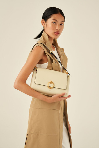 Oroton Alexa Medium Satchel in Parchment and Nappa Leather for female