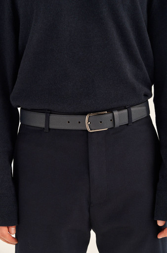 Oroton Hugo Saffiano Belt in Ink and Saffiano Leather for male