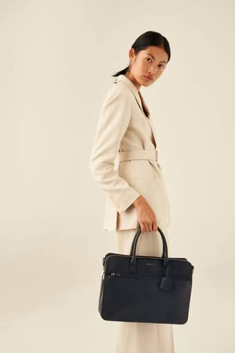 "Oroton Maison 15"" Worker Tote in Denim Blue and Saffiano Leather for female"