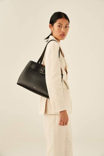 Oroton Avery Three Pocket Day Bag in Black and Soft Pebble Leather for female
