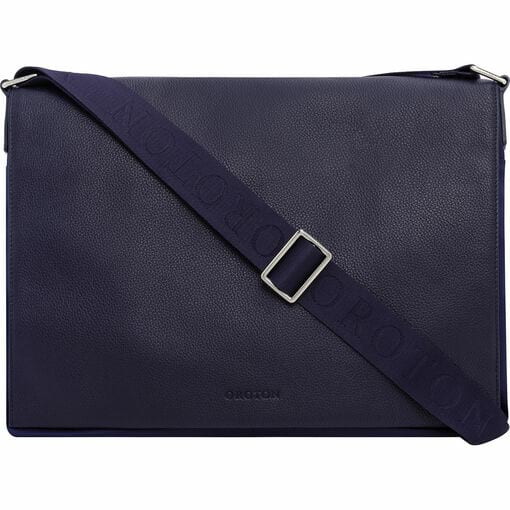 Oroton Finn Nylon EW Satchel in Navy and Nylon and pebble grain leather for male