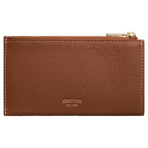 Oroton Margot 8 Credit Card Mini Zip Pouch in Whiskey and Pebble Leather for female
