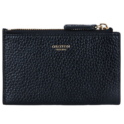 Oroton Avalon Mini 4 Credit Card Zip Pouch in Black and Pebble Leather for female