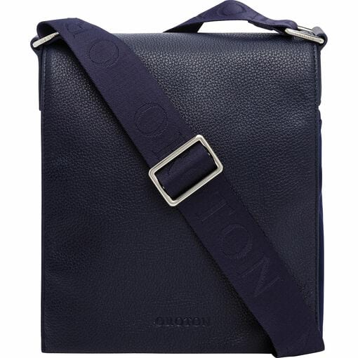 Oroton Finn Nylon Companion in Navy and Nylon and pebble grain leather for male