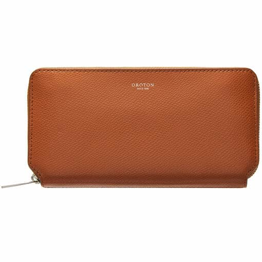 Oroton Muse Medium Zip Wallet in Cognac and Two Tone Saffiano Leather / Soft Nappa Leather for female